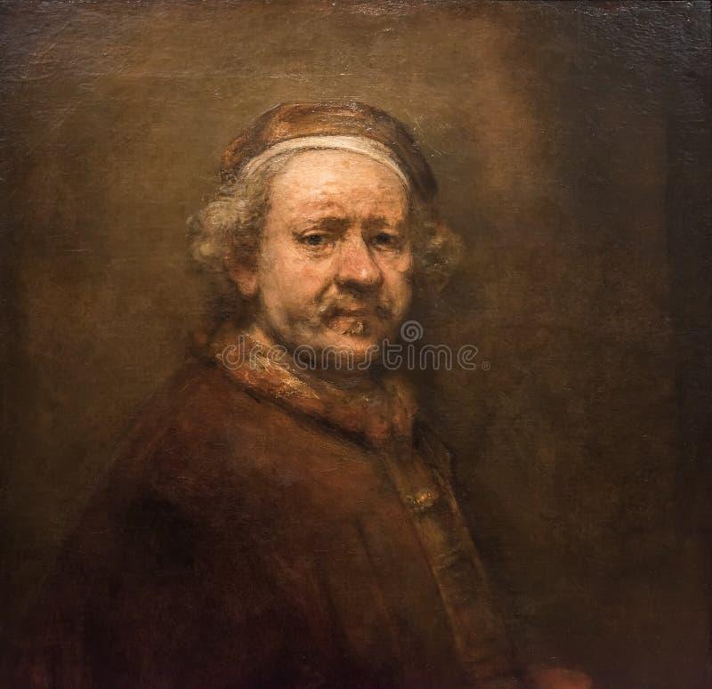 Rembrandt van Rijn, zelfportret stock afbeeldingen