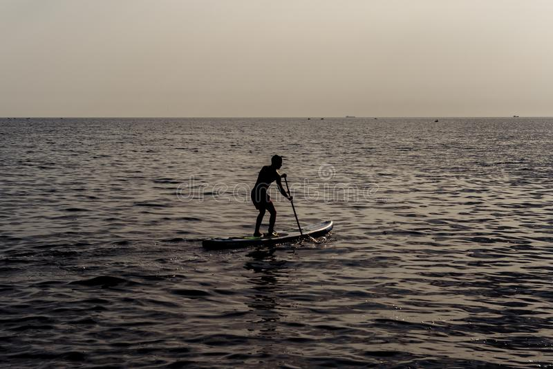Reme a posição, silhueta do homem na praia no por do sol Surfar do SUP fotos de stock royalty free