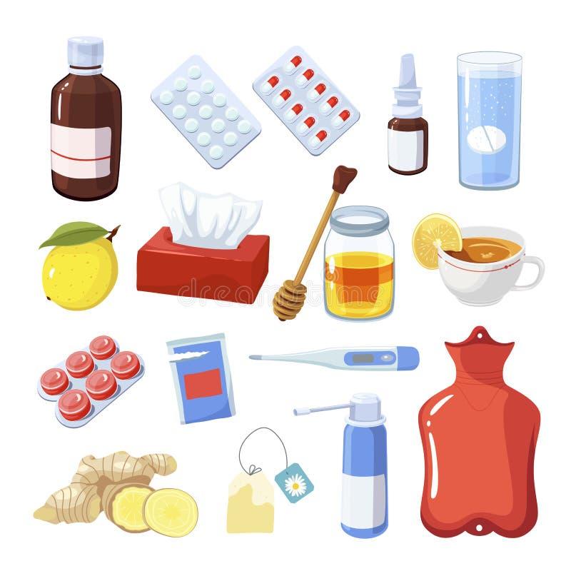 Remedia dla grypy i bolesnego gardła medycyny ilustracji