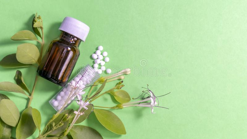 Remedio homeopático dispersado y una botella de cristal con las hojas en fondo verde imagenes de archivo