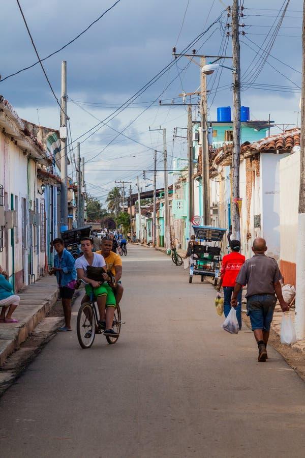 REMEDIOS, CUBA - FEB 12, 2016: Street life in Remedios town, Cu stock images