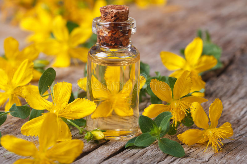 Remedy St. John's wort flower in a glass bottle. A remedy St. John's wort flower in a glass bottle closeup horizontal royalty free stock photography