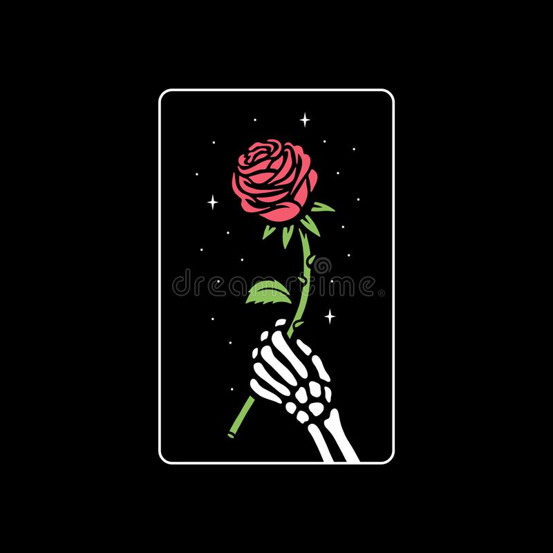 SKELETON HAND WITH ROSE FLOWER vector illustration