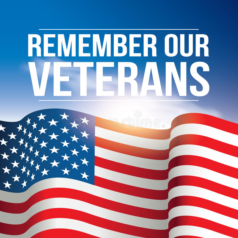 Remember Our Veterans poster, banner USA, American flag background against the blue sky.  stock illustration