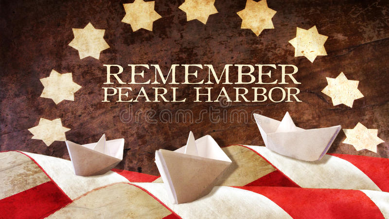 Remember Pearl Harbor. Usa Flag Waves on Wood and Boat. Remember Pearl Harbor. Usa Flag Waves on Wood and Paper Boat stock photography