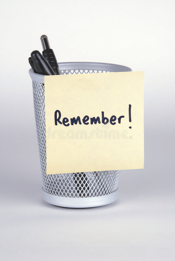 Remember! Post-It Note stock images