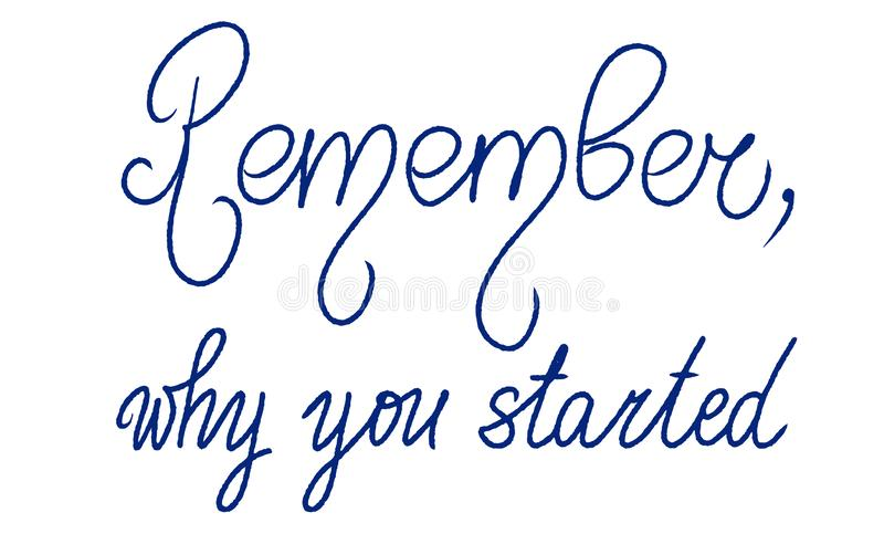 Remember, why you started. Handwritten Vector motivation quote. Unique sport lettering. Woman or man slogan. Inspiration graphic vector illustration