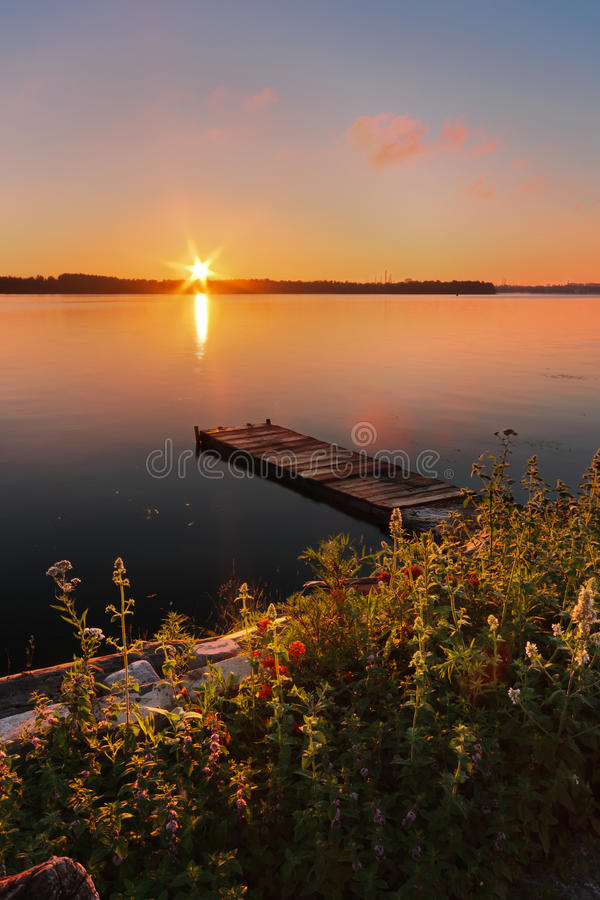 Remembering August. Majestic Sunrise on the Dnieper. Dnipropetrovsk, Ukraine royalty free stock images