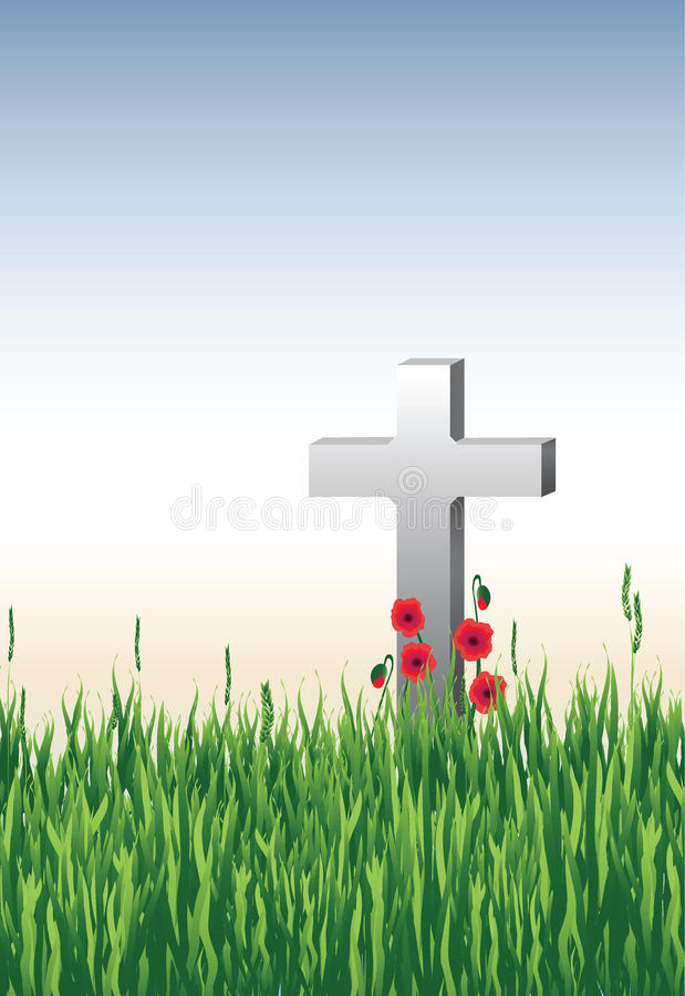 In Remembrance. Illustration of a war grave in long grass with poppies. Available as or royalty free illustration