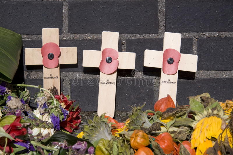 Remembrance Crosses at the Airborne Cemetery in Oosterbeek. Netherlands stock photography
