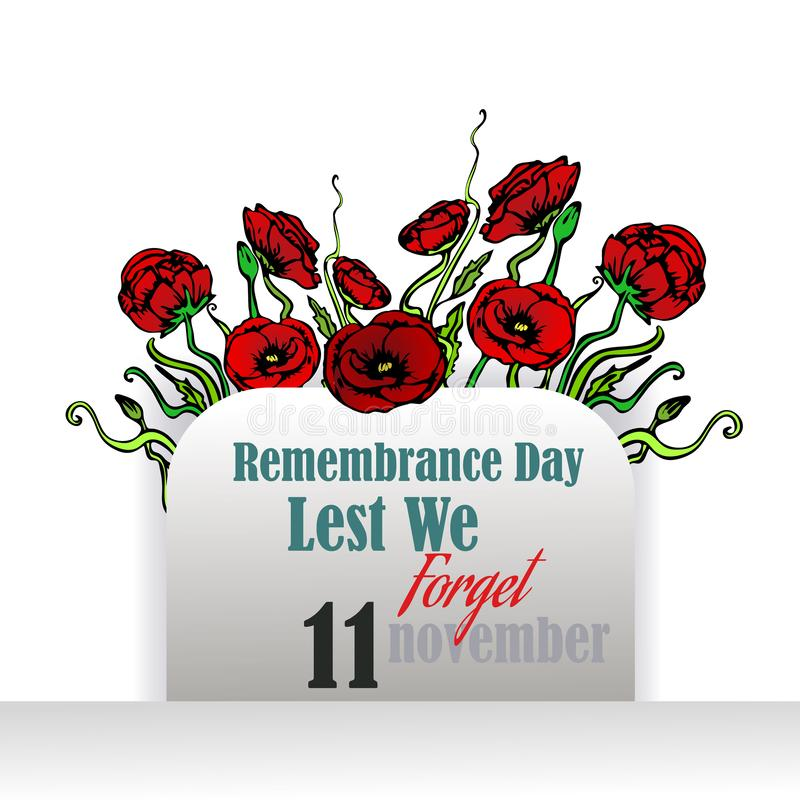 Remembrance day card with red poppies, lest we forget, memorial day template stock illustration