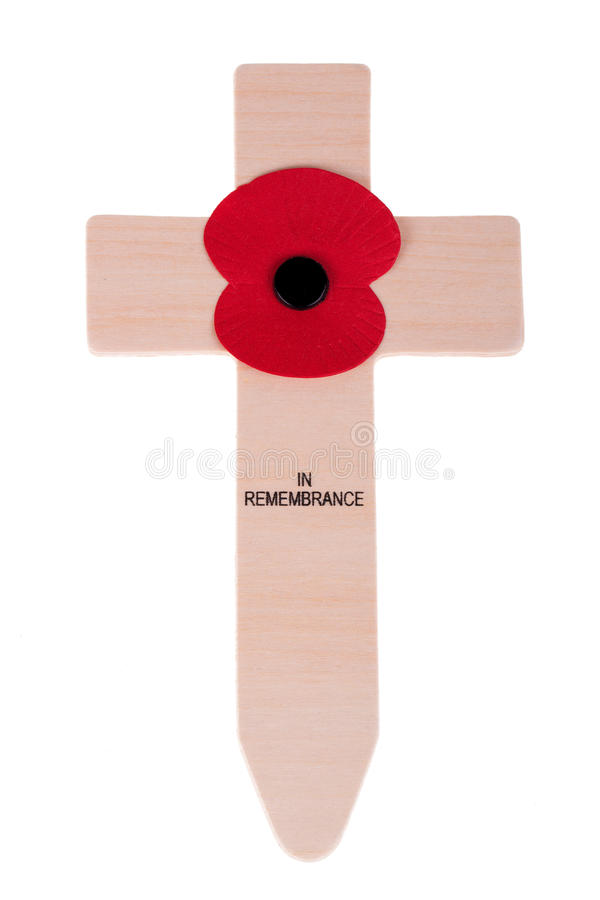 Remembrance Day Cross with poppy. Isolated on white royalty free stock image