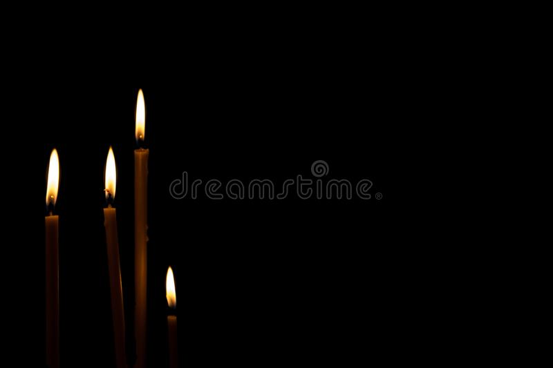 Remembrance day Mourning memorial funeral peace crematorium condolence concept. Close up Horizontal landscape four burning fired stock image