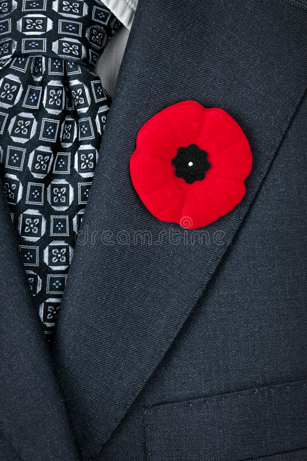 Free Remembrance Day Poppy On Suit Royalty Free Stock Images - 28150999