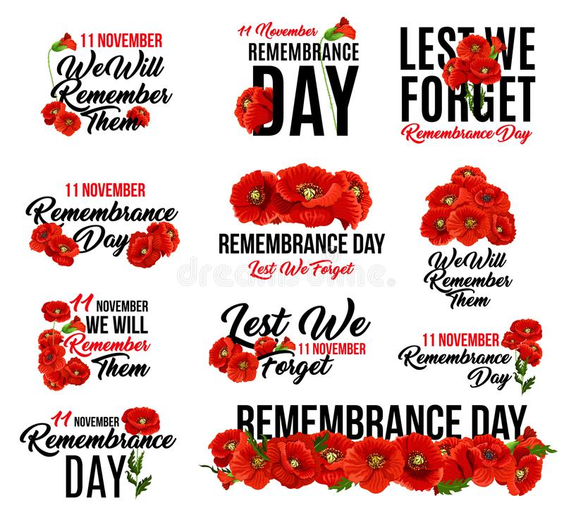 Free Remembrance Day Red Poppy Flower Icon Design Stock Photography - 120300742