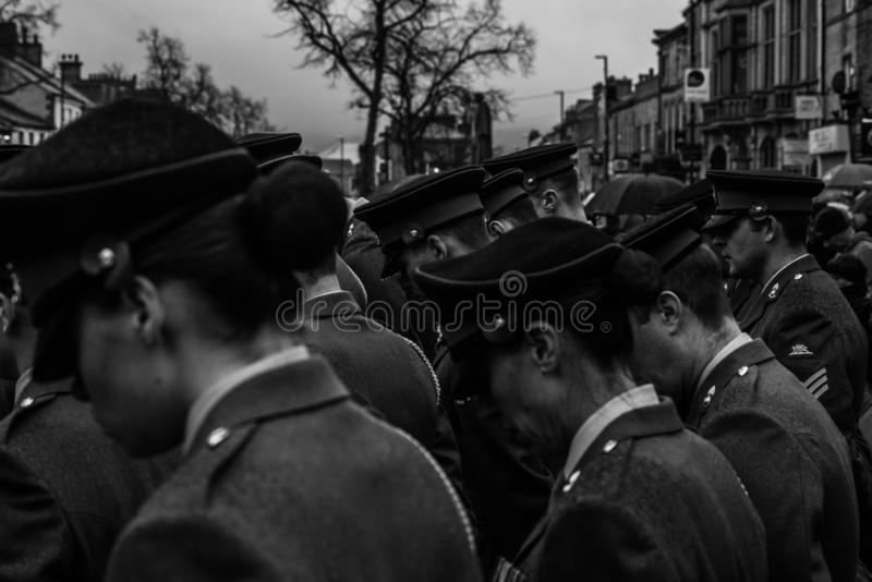 Remembrance Day. Skipton. United Kingdom. 11.11.2018. Remembrance Sunday 2018. Skipton 11.11.2018 Main focus in middle. REMEMBRANCE Day in Skipton on Sunday was stock photography