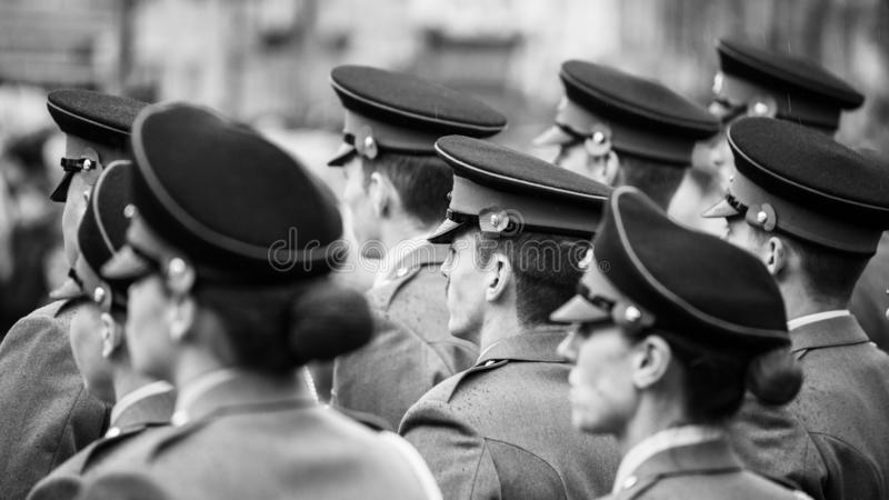 Remembrance Day. Skipton. United Kingdom. 11.11.2018. Remembrance Sunday 2018. Skipton 11.11.2018rnBlack and white. RAW picture, available.rn royalty free stock photos