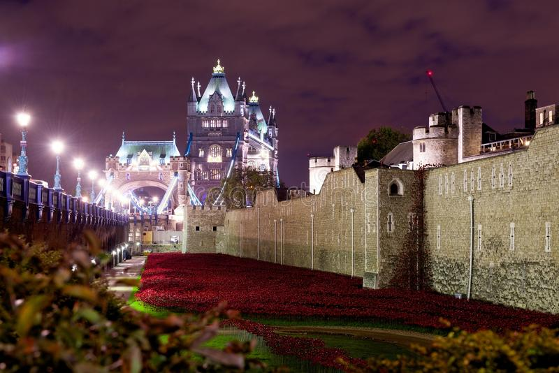 Remembrance Poppies at the Tower of London, England royalty free stock photo