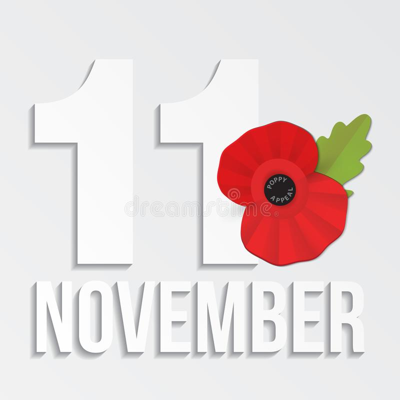 The remembrance poppy - poppy appeal. Modern paper design isolated on white. Decorative vector flower for Remembrance Day, Memorial Day, Anzac Day in New stock illustration