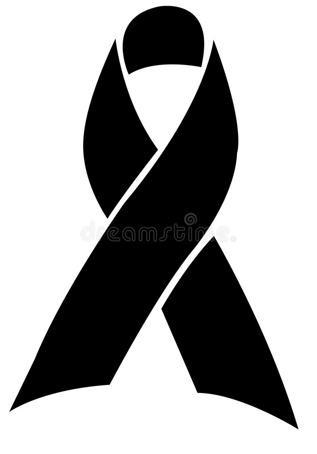 Remembrance Ribbon/eps. Silhouette illustration of an awareness or remembrance ribbon. also can symbolize mourning or honoring a deceased person. eps available stock illustration