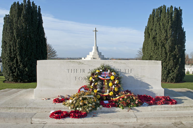 Remembrance at Tyne Cot. Remembering fallen soldiers at Tyne Cot cemetery in Passendale royalty free stock photography