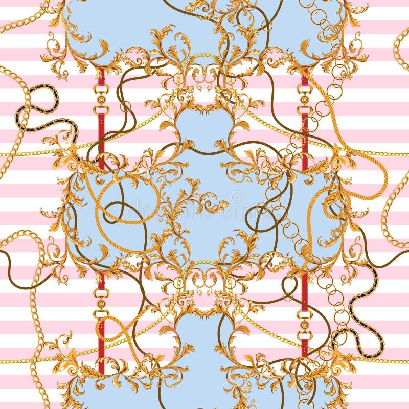Remendo barroco com correntes douradas e correias Teste padrão sem emenda para lenços, cópia, tela ilustração stock