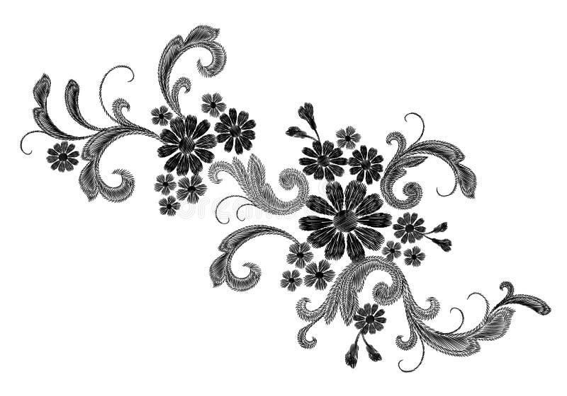 Remendo branco realístico da forma do bordado do vetor A margarida cor-de-rosa da flor sae do projeto do victorian do vintage Tex ilustração stock