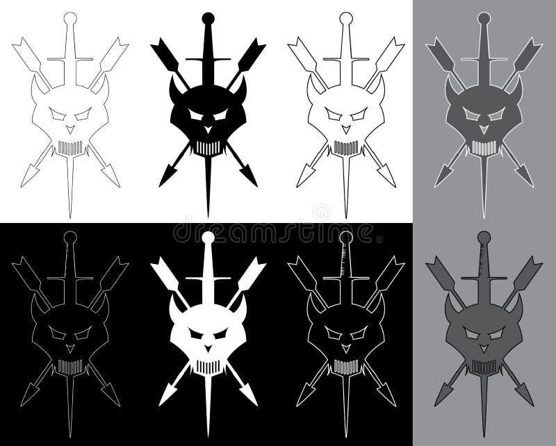 Remendo empalado do exército da cabeça do demônio ilustração stock