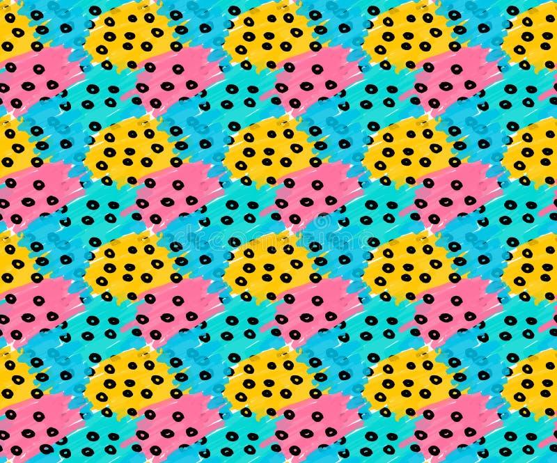 Remendos amarelos cor-de-rosa azuis tirados marcador com pontos pretos ilustração stock