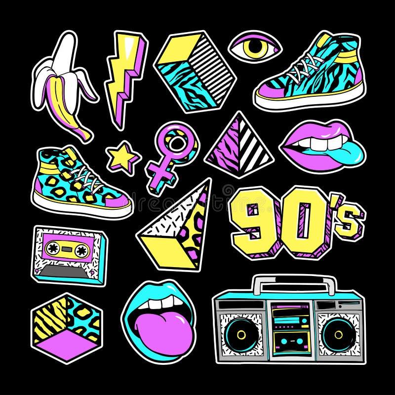 Remendos da forma dentro no estilo de 80s-90s memphis ilustração stock