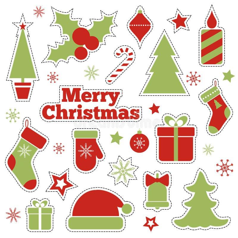 Remendos da forma do Natal do vetor, etiquetas ilustração do vetor