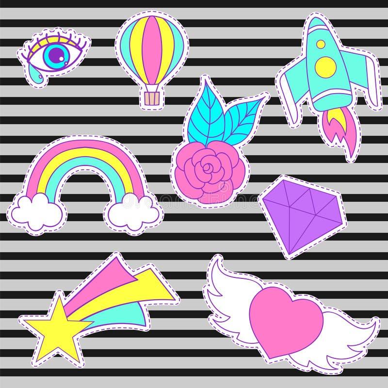 Remendos felizes do vetor da forma, crachás doces retros com coração, sta ilustração royalty free