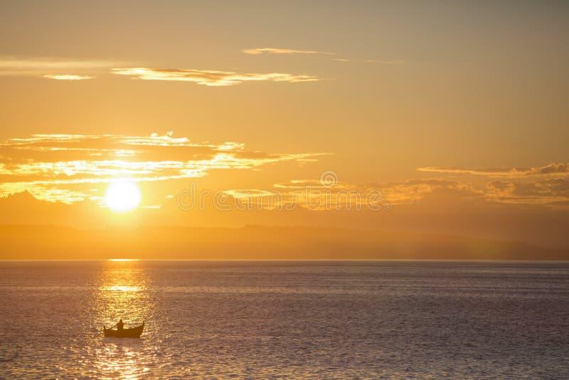 Remero solitario en el mar de Salish foto de archivo libre de regalías