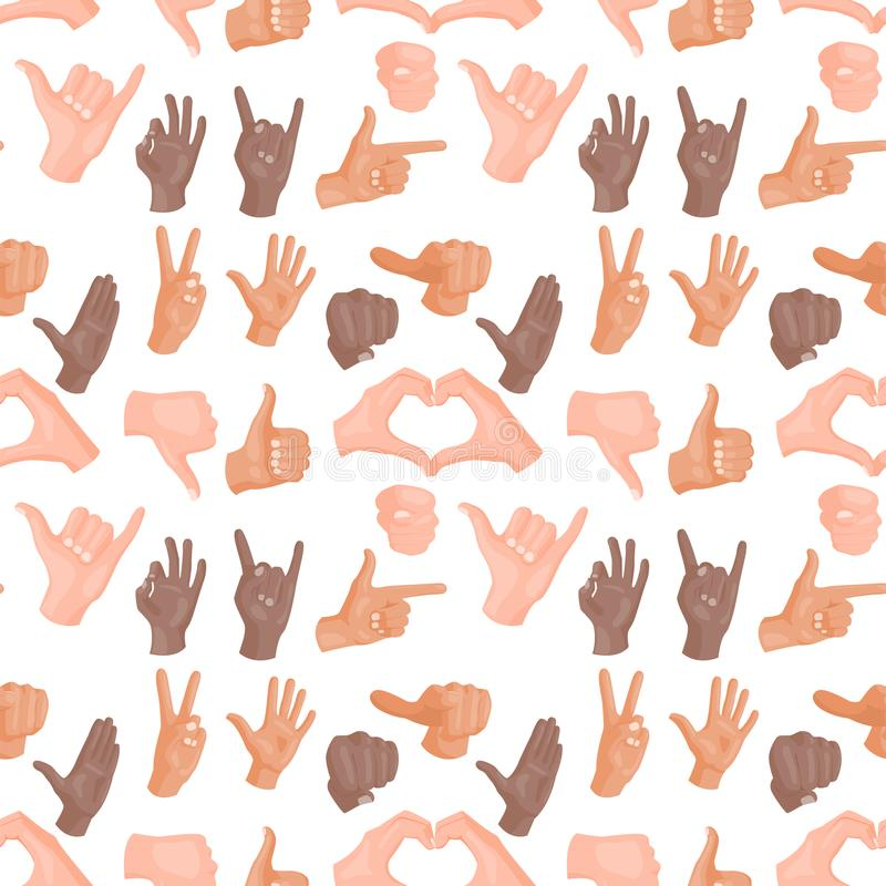 Remet à des gestes sans couture sourds-muets de fond de modèle l'illustration humaine de vecteur de message de communication de p illustration libre de droits