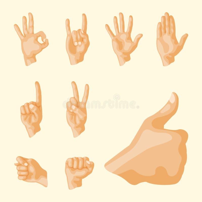 Remet à sourd-muet différents gestes communication humaine de personnes de bras illustration de vecteur