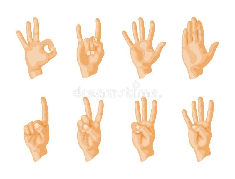 Remet à sourd-muet différents gestes illustration humaine de vecteur de message de communication de personnes de bras illustration stock