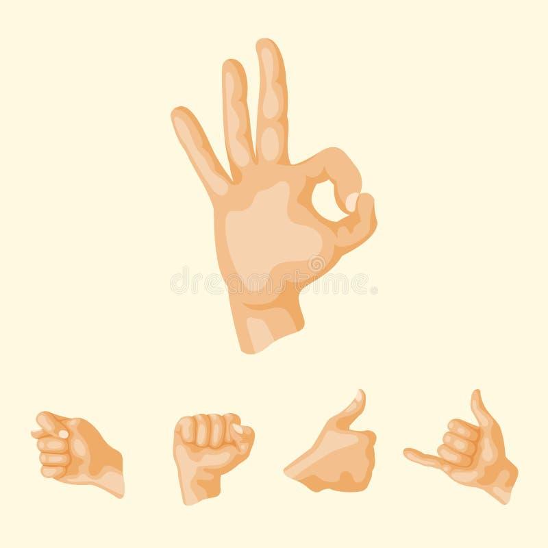 Remet à sourd-muet différents gestes illustration humaine de vecteur de message de communication de personnes de bras illustration de vecteur