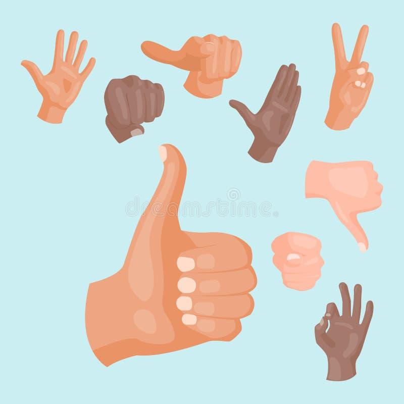 Remet à sourd-muet différents gestes illustration humaine de vecteur de message de communication de personnes de bras illustration libre de droits