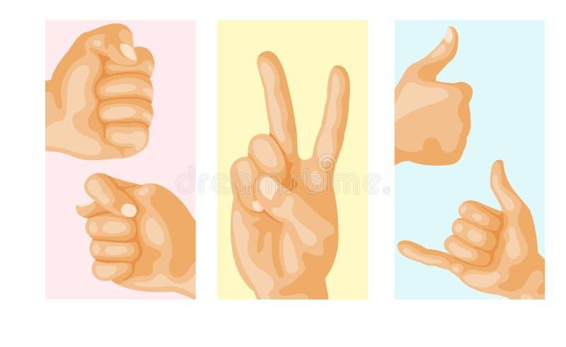 Remet à sourd-muet différents gestes illustration humaine de vecteur de message de communication de personnes de bras de design d illustration de vecteur