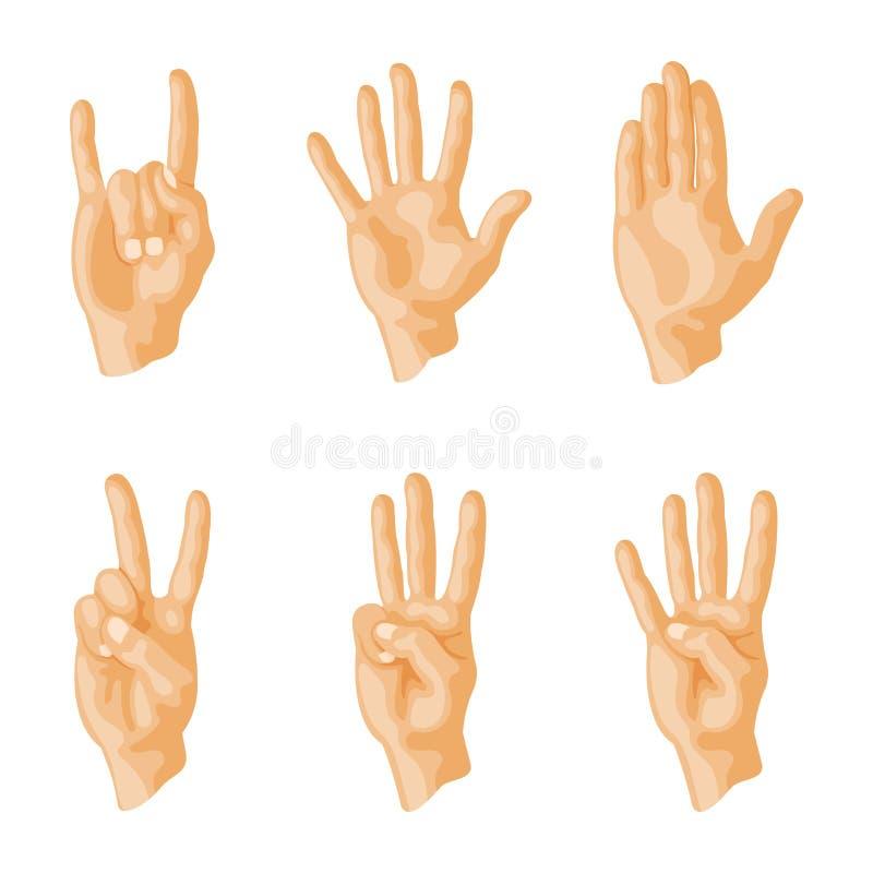 Remet à sourd-muet différents gestes message humain de communication de personnes de bras illustration de vecteur