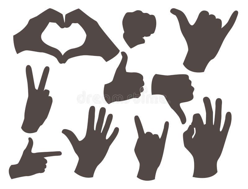 Remet à sourd-muet différents gestes silhouette noire illustration humaine de vecteur de message de communication de personnes de illustration libre de droits