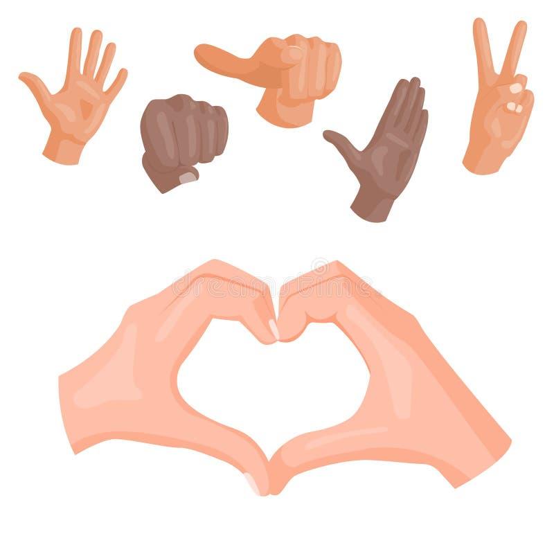 Remet à vecteur sourd-muet de symbole de coeur différents gestes illustration humaine de message de communication de personnes de illustration libre de droits