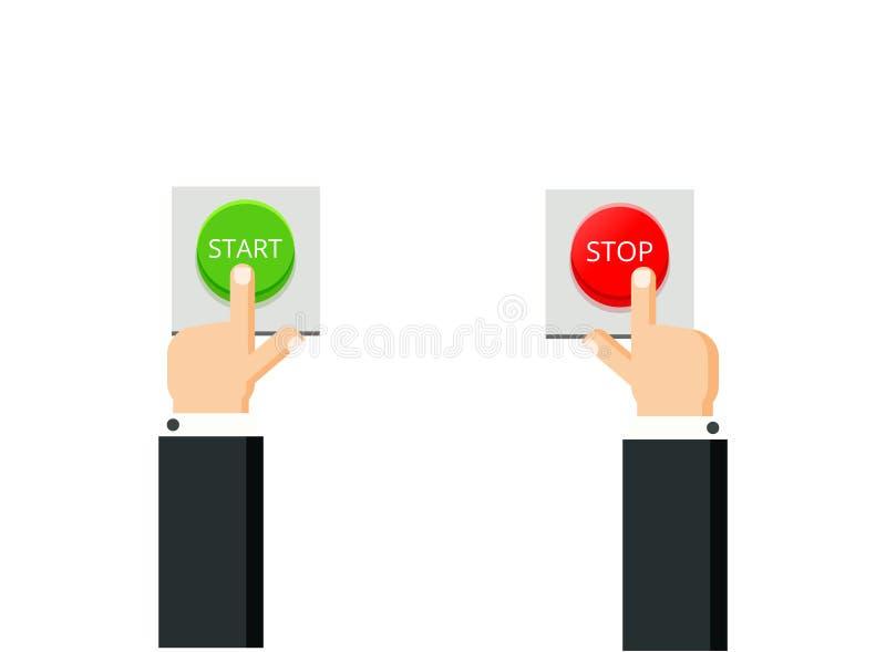 Remet des boutons-poussoirs Illustration plate Commencez et arrêtez le concept illustration de vecteur