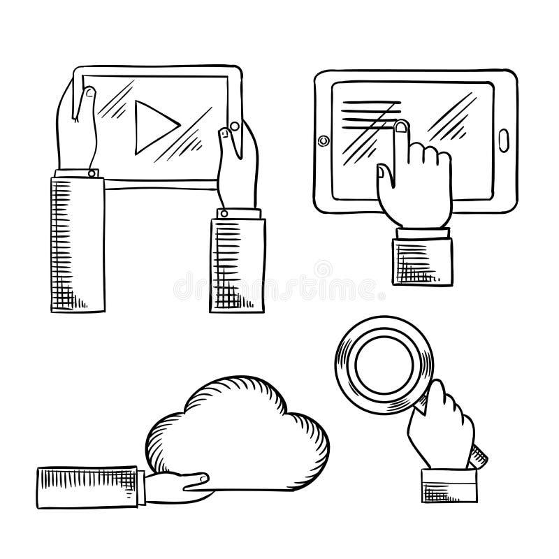 Remet des icônes avec des comprimés, nuage, loupe illustration de vecteur