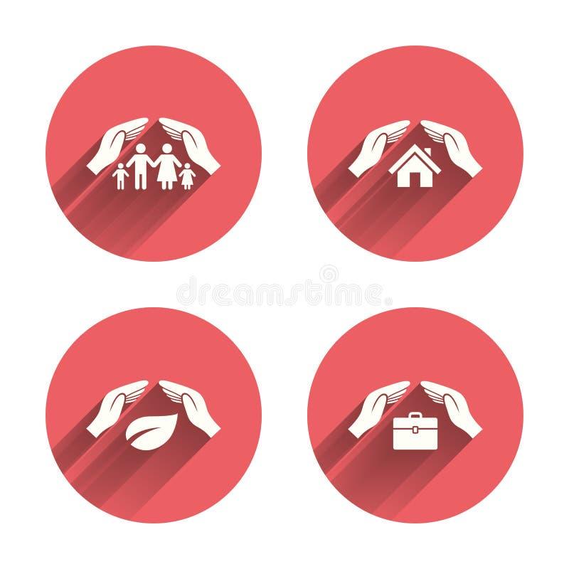 Remet des icônes d'assurance Assurance-vie humaine illustration de vecteur