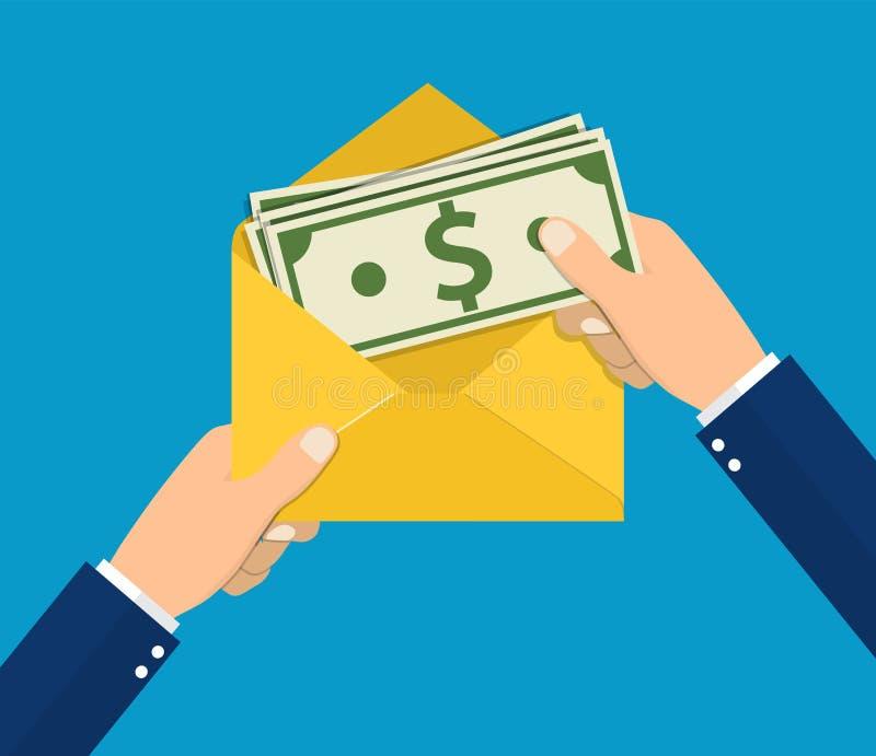 Remet l'homme d'affaires tenant l'enveloppe avec l'argent liquide illustration stock