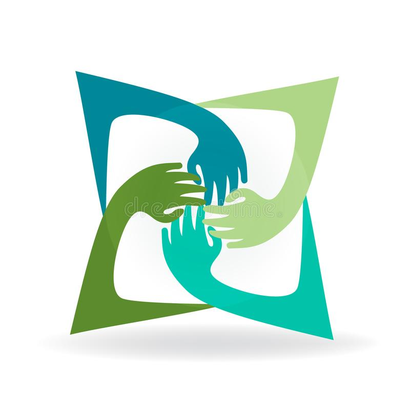 Remet le logo de personnes d'unité de travail d'équipe illustration stock