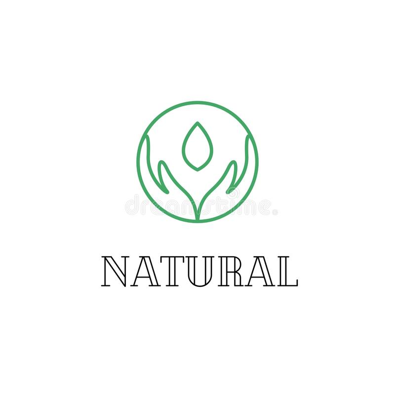 Remet le logo linéaire pour le vecteur cosmétique naturel illustration libre de droits