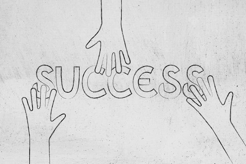 Remet les parties de saisie du succès de mot illustration stock
