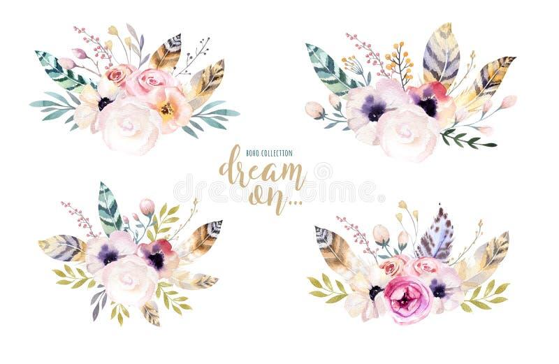Remettez à aquarelle d'isolement par dessin l'illustration florale avec des feuilles, des branches, des fleurs et des plumes art  illustration libre de droits